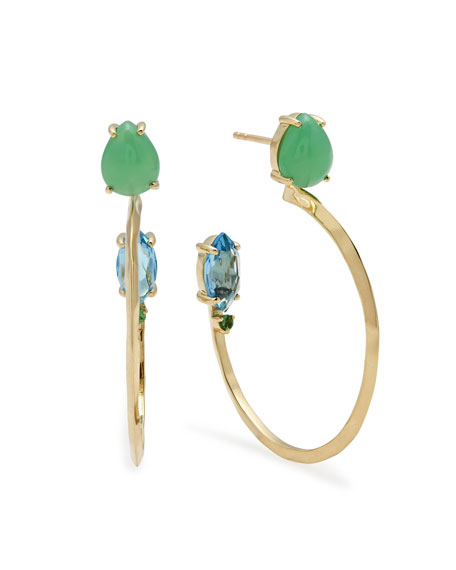 Ippolita 18k Prisma Three-Stone Hoop Earrings in Portofino EPstm