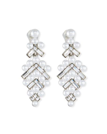 Oscar De La Renta Pearly Baguette Drop Earrings LjOLrME