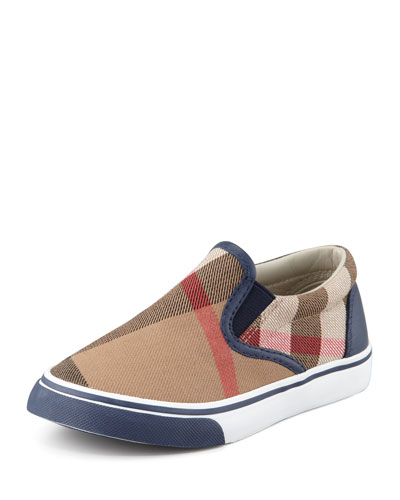 Navy Check Slip-On Sneaker, Toddler
