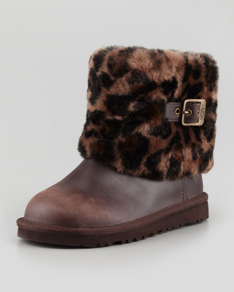 Toddler & Youth Elle Animal-Print Cuff Boot, Stout
