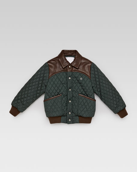 Gucci Quilted Nylon Leather Bomber Jacket