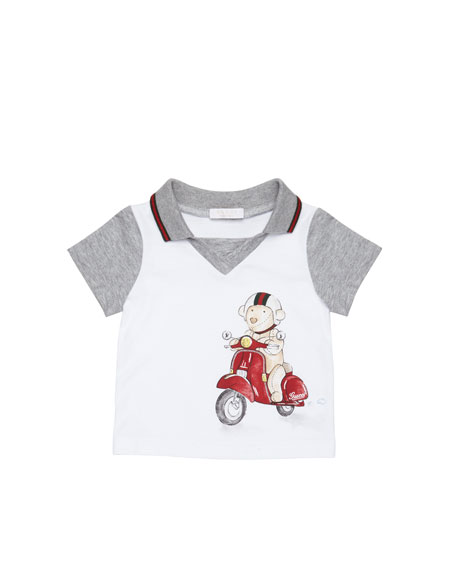 b1031e30 Gucci Teddy-Bear-Scooter-Print Polo, White, 0-24 Months