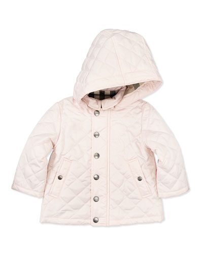 Quilted Hooded Jacket, Pink, 6M- 2Y