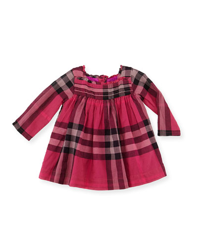 Pleated-Bodice Check Dress, Fuchsia, 3-18 Months