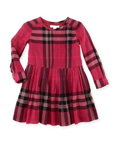 Plisse Long-Sleeve Check Dress, Fuchsia, 4Y-10Y