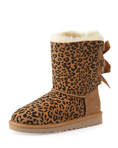 Kids' Leopard-Print Bailey Boot, Chestnut, 13T-4Y