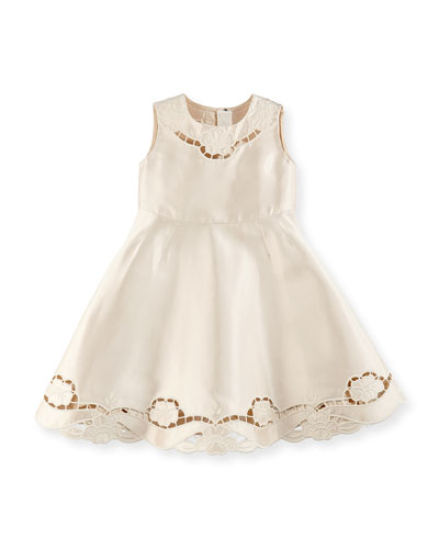 Satin Cutwork-Trim Dress, Girls