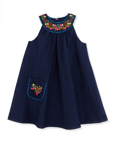 Floral Embroidered Batiste Dress, Newport Navy, Girls' 2T-3T