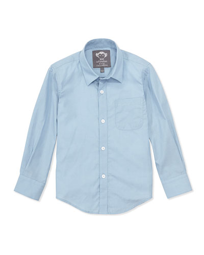 Solid Button-Down Shirt, Blue