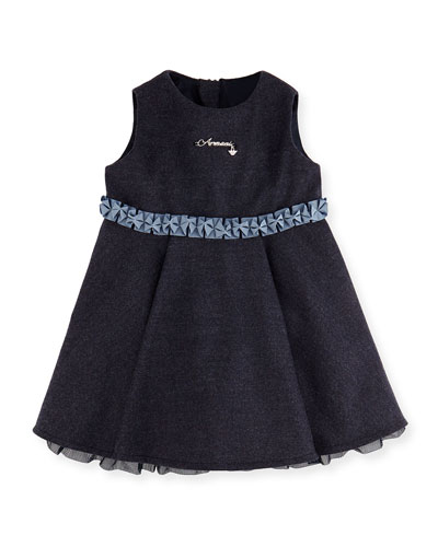 Heathered Ruffle Dress, Royal Blue, 3-24 Months