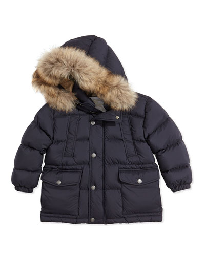 Puffer Jacket with Fur Hood, Navy