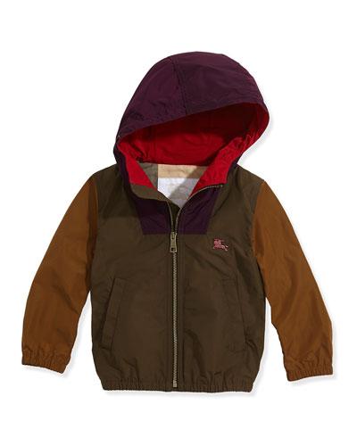 Colorblock Lightweight Tech-Fabric Jacket, Khaki Multi, Boys' 4Y-14Y