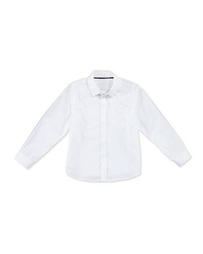 Poplin Dress Shirt, White, Boys' 4Y-14Y