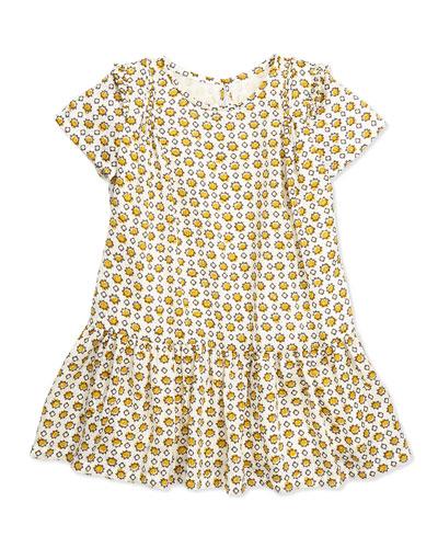 Hammered Print Silk Dress, Burnt Yellow, 4Y-14Y