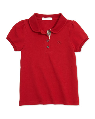 Girls' Check-Placket Polo, Military Red, 4Y-14Y