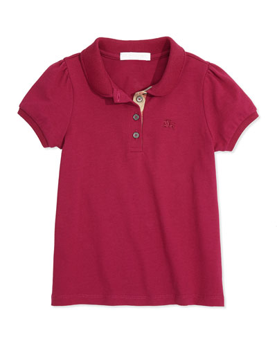 Girls' Check-Placket Polo, Fritillary Pink, 4Y-14Y