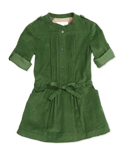 Pleated Corduroy Dress, Grass Green, 4Y-14Y