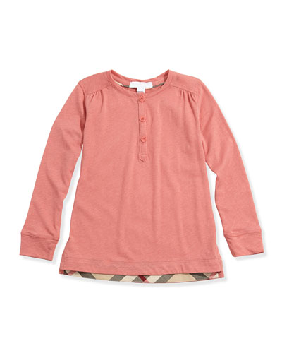 Girls' Check-Detail Henley, Pale Cameo Rose, 4Y-14Y