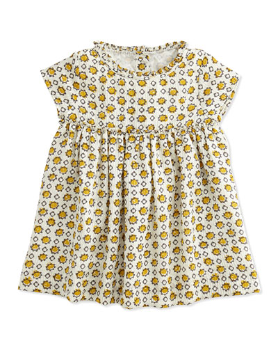 Hammered Print Silk Dress, Yellow, 3M-3Y