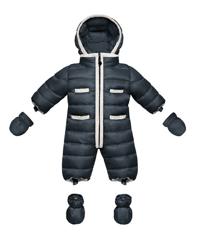 Quilted Nylon Snowsuit, Navy, 3-18 Months
