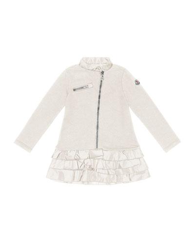 Zip-Front Drop-Waist Dress, Cream, Sizes 2-6