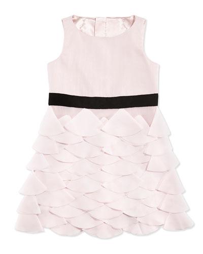 Tiered Petal-Appliqu?? Party Dress, Blush, Sizes 2-7