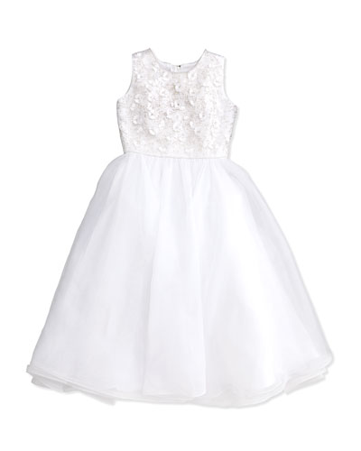Floral Applique Beaded Sleeveless Dress, White, Size 6-14