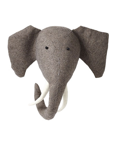 Felt Elephant Head Wall Mount
