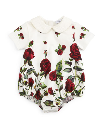 Short-Sleeve Rose-Print Playsuit, White/Red, Girls
