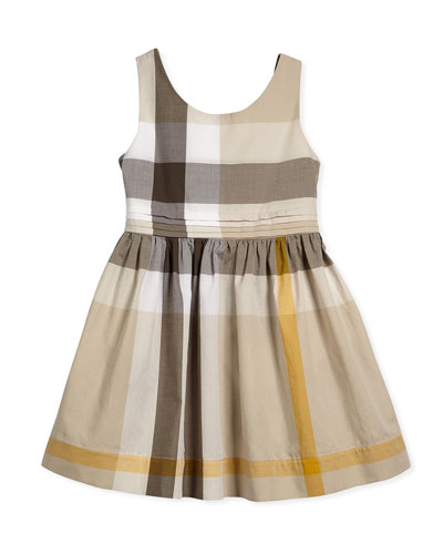 Sleeveless Check-Print Anny A-Line Dress, Mink Gray, Size 4Y-14Y