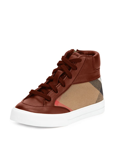 Haypark Check High-Top Sneaker, Red/Tan, Youth