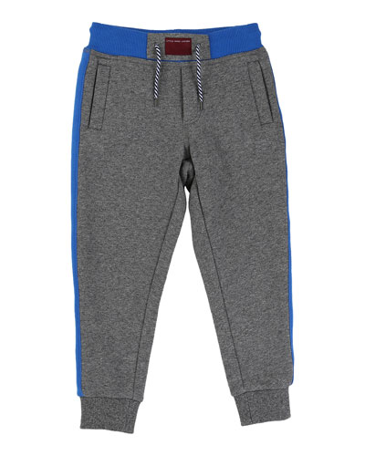 Banded Colorblock Track Pants, Blue/Gray, Size 4-10