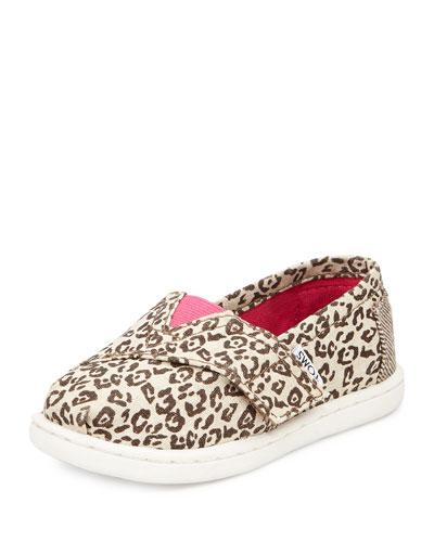 Canvas Leopard-Print Classic Shoe, Tan, Tiny