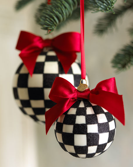 Mackenzie Childs Christmas Ornaments.Large Courtly Check Ball Ornament