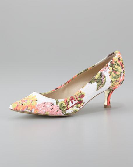 140b3d6eaba Stella McCartney Floral Jacquard Kitten-Heel Pump