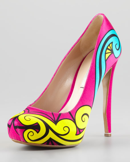 Nicholas Kirkwood Printed Satin Pumps outlet fashion Style lzSNX0b