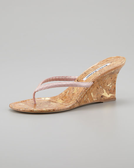 Manolo Blahnik Python Cork Sandals low price fee shipping yL6916eTO