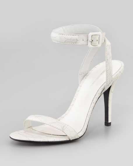 Neiman Marcus Embossed Ankle Strap Sandals sale huge surprise sale visa payment jlLde
