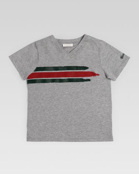 ac75fa4e9 Gucci Gucci Stripe V-Neck Tee, Gray