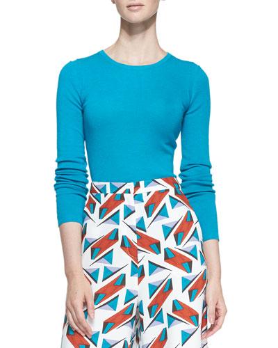 Long-Sleeve Crewneck Sweater, Turquoise