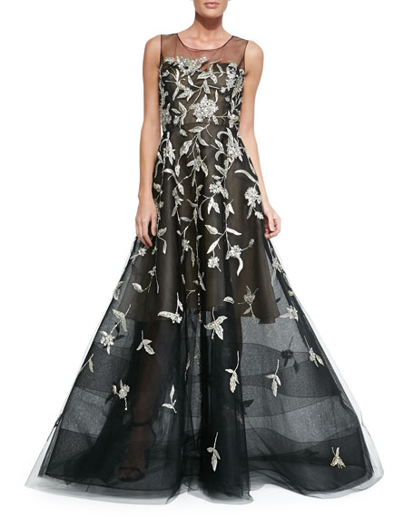 Oscar De La Renta Silver Embroidered Evening Gown Black