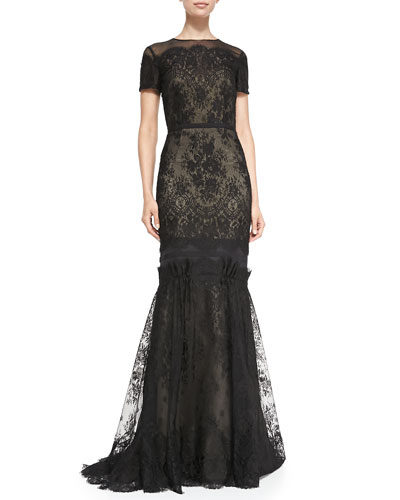 Short-Sleeve Tiered Lace Evening Gown
