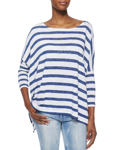 17827d8f8d Ralph Lauren Black Label Striped Boat-Neck Dolman Top
