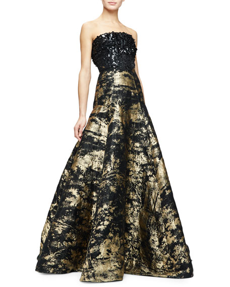 Strapless Embellished Bodice Metallic Gown Gold Black