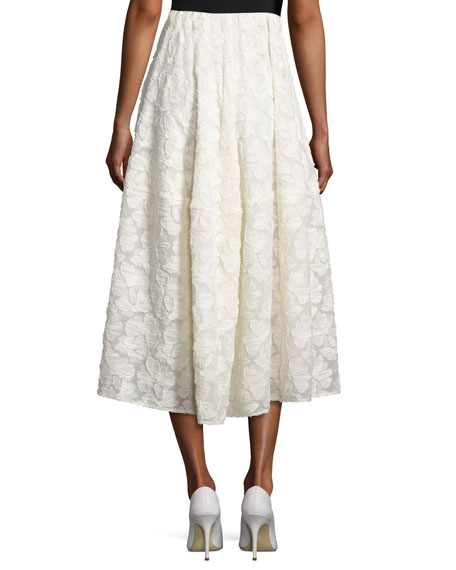 co floral fil coup 233 a line tea length skirt ivory