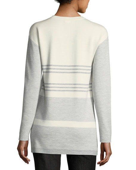 Crewneck Long-Sleeve Striped-Back Knit Pullover Top