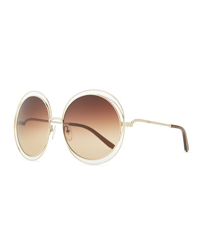 Carlina Round Wire-Frame Sunglasses, Rose Gold
