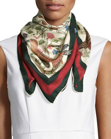 Printed Silk-twill Scarf - Ivory Gucci g5IpLCVi