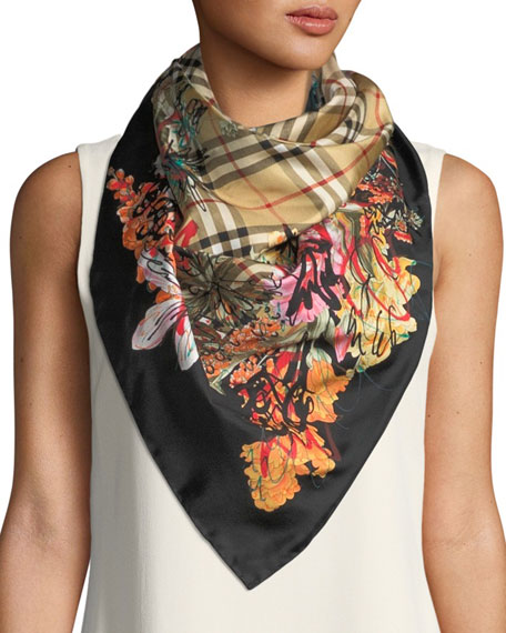 Scribble floral vintage check silk scarf Burberry nWAYBjqz