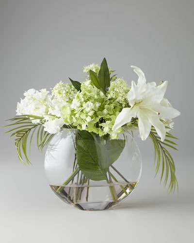 Green & White Faux Flowers